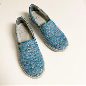 Dansko | Women's Belle Blue Textured Canvas Shoes